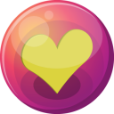 128x128px size png icon of heart yellow 1