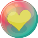 128x128px size png icon of heart yellow 2