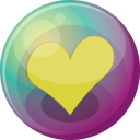 128x128px size png icon of heart yellow 3