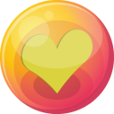 128x128px size png icon of heart yellow 4