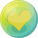 128x128px size png icon of heart yellow 5