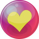 128x128px size png icon of heart yellow 6