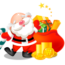 128x128px size png icon of santa gifts bag