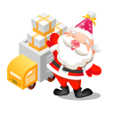 128x128px size png icon of santa gifts truck
