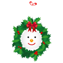 128x128px size png icon of snowman wreath