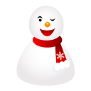 128x128px size png icon of wink snowman