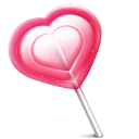 128x128px size png icon of love heart lolly
