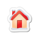 128x128px size png icon of Xmas sticker home