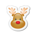 128x128px size png icon of Xmas sticker reindeer