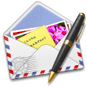 128x128px size png icon of AirMail Stamp Photo Pen