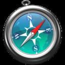 128x128px size png icon of Safari zeeblauw