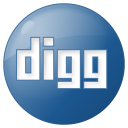 128x128px size png icon of social digg button blue
