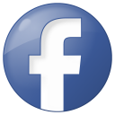 128x128px size png icon of social facebook button blue