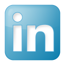 128x128px size png icon of social linkedin box blue