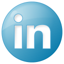 128x128px size png icon of social linkedin button blue