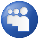 128x128px size png icon of social myspace button blue