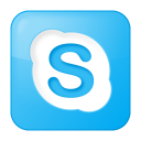 128x128px size png icon of social skype box blue
