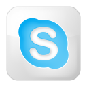 128x128px size png icon of social skype box white