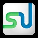 128x128px size png icon of social stumbleupon box white