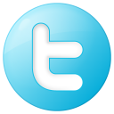 128x128px size png icon of social twitter button blue