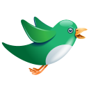 128x128px size png icon of twitter bird flying green
