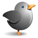 128x128px size png icon of twitter bird grey