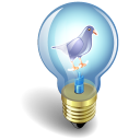 128x128px size png icon of twitter bulb purple