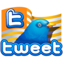 128x128px size png icon of twitter flag gold