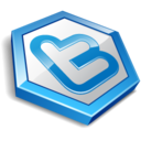 128x128px size png icon of twitter hexa blue