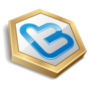 128x128px size png icon of twitter hexa yellow
