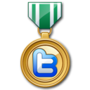 128x128px size png icon of twitter medal green