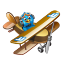 128x128px size png icon of twitter plane brown