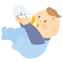 128x128px size png icon of baby drinking