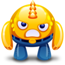 128x128px size png icon of yellow monster angry