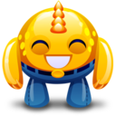 128x128px size png icon of yellow monster happy