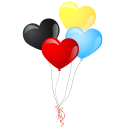 128x128px size png icon of heart balloons