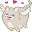 128x128px size png icon of cat cupid love
