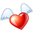 128x128px size png icon of Flying heart