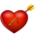 128x128px size png icon of arrow and heart