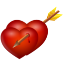 128x128px size png icon of arrow and hearts