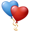 128x128px size png icon of Balloons Hearts