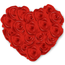 128x128px size png icon of Flowers Heart Roses