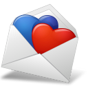 128x128px size png icon of MailEnvelope Hearts BlueRed