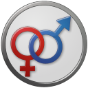 128x128px size png icon of Sex Male Female Circled
