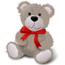 128x128px size png icon of TeddyBear RedRibbon