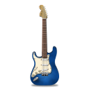 128x128px size png icon of guitar stratocaster blue