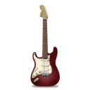 128x128px size png icon of guitar stratocaster red