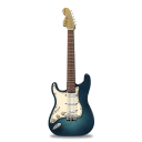 128x128px size png icon of guitar stratocaster turquoise