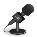 128x128px size png icon of microphone foam black