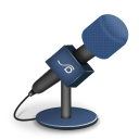 128x128px size png icon of microphone foam blue
